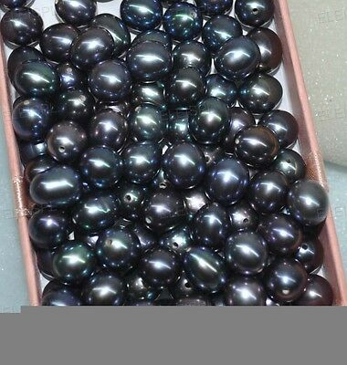 wholesale half drilled loose real pearl peacock red blue green black 7-7.5*8-9mm