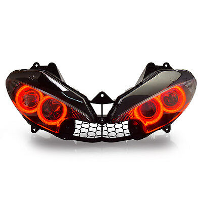 KT LED HID Angel Halos Eyes Headlight Assembly For Yamaha R6 2003-2005 Red Kit