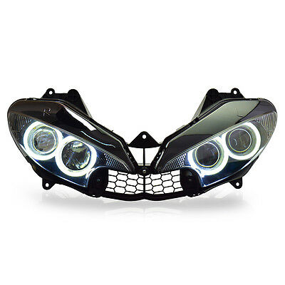 KT LED HID Angel Halos Eyes Headlight Assembly For Yamaha R6 2003-2005 White