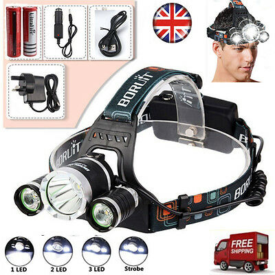 Lighting EVER LED Super Bright 6000LM 3x CREE XM-L T6 LED Headlamp with 4 Bright