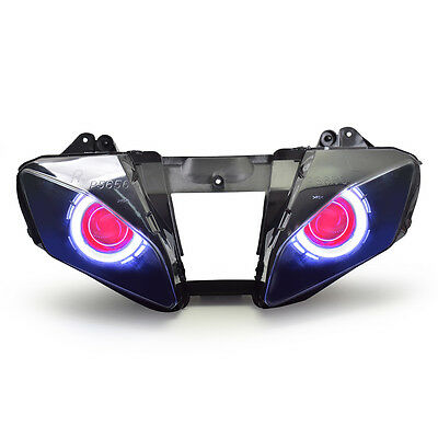 KT LED HID Angel Demon Eyes Headlight Assembly For Yamaha YZF R6 2006-2007 Red