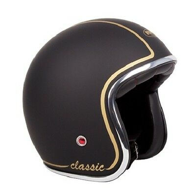 S Matt Black/Gold Challenger 'CLASSIC' Open Face  Helmet  RXT AS1698 Standards
