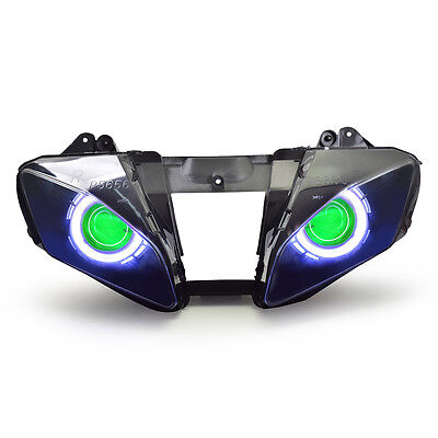 KT LED HID Angel Demon Eyes Headlight Assembly For Yamaha YZF R6 2006-2007 Green