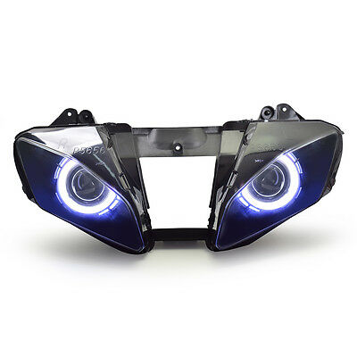 KT LED HID Angel Demon Eyes Headlight Assembly For Yamaha YZF R6 2006-2007 White