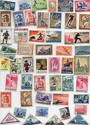 SAN MARINO 55 Stamps All Different and Off Paper