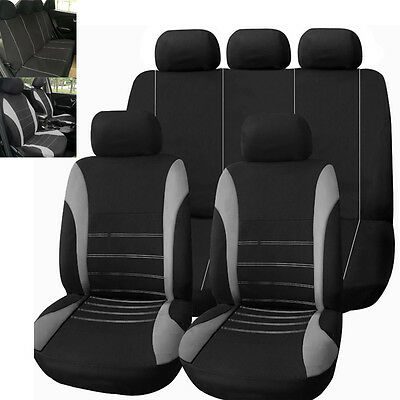 Gray Car Seat Covers Set for Auto w/Steering Wheel/Belt Pad/Head Rests 9 Part