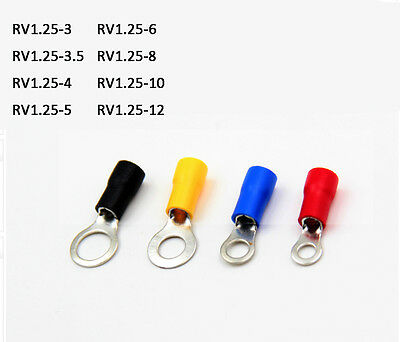 Various Sizes Insulated Ring Crimp Terminals Electrical Splice Connector Eyelet
