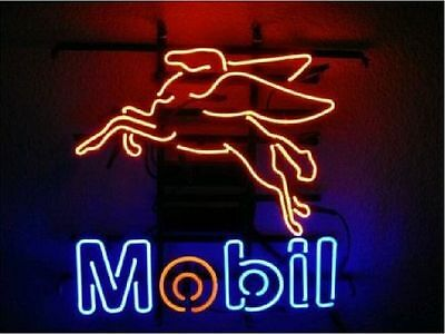 "New Mobilgas Gasoline Motorcycle Neon Sign 17""x14"" Ship From USA"