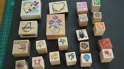 21 wooden rubber stamps,  card toppers,  scrapbooking, crafts, job lot, FP