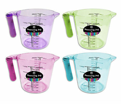 Measuring Jug 1 Litre Plastic Grip Handle Great Quality Pink Green Purple Blue