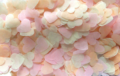 3000 Biodegradable Light Pink, Peach, Ivory HEART Wedding confetti - 3handful