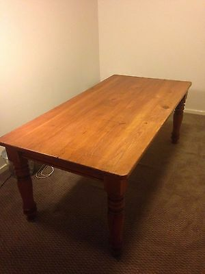 Large rustic solid timber dining or work table with turned legs