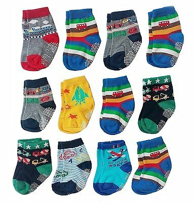 Deluxe Anti Non Skid Slip Slipper Crew Socks For Baby Toddler Boys 6-12 Months,