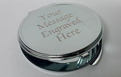 Engraved Compact Silver Mirror Personalised Favor Wedding Christmas Gift her