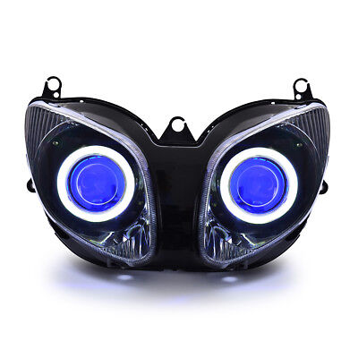 KT LED Angel Demon Eyes HID Headlight Assembly for Yamaha T-Max 2001-2007 Blue