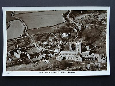 Pembroke Aerial View ST DAVIDS CATHEDRAL c1940's RP Postcard by Aero Pictorial