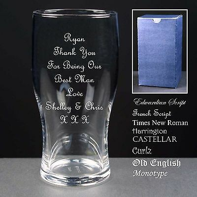 Personalised Tulip Pint Glass, Wedding Favour, Best Man Gift