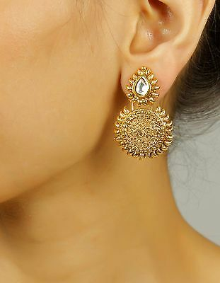 7305 Indian Bollywood Designer Jewelry Ethnic Gold Plated Wedding Earrings Set