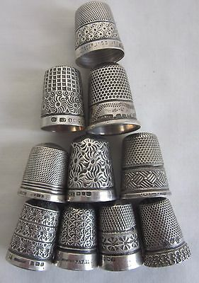 10 Antique Solid Silver Thimbles. 46 grams  - not fully researched!
