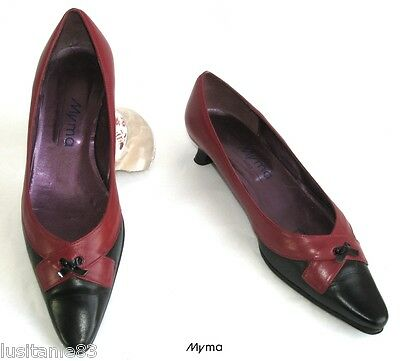 Myma - Shoes Small Heels All Leather Red & Black 39 - Excellent Condition
