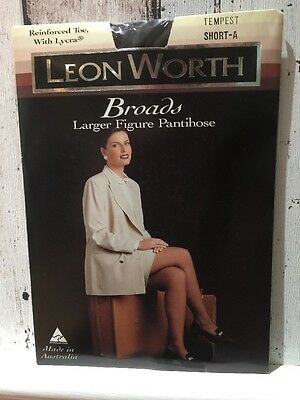 Leon Worth Broads Larger Figure Pantihose  15 Denier 1990's Vintage Short A