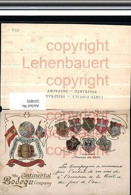 521025,Reklame Präge Litho Wein The Continental Bodega Company Wappen