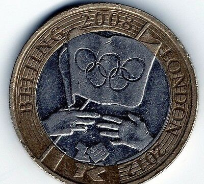 2 pound coin, Olympic Handover, Beijing to London, 2008.