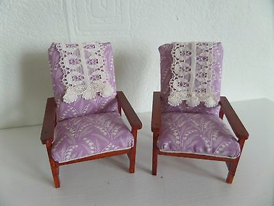 12th scale hand made utility fireside chairs dolls house reduced price