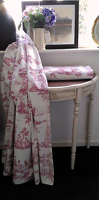 Toile de Jouy vintage French country curtains cotton lined clover pink white