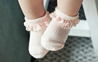 2Pairs Baby Girls Toddler Infant Cute Lace Soft Non-Slip Cotton Socks Pink/White