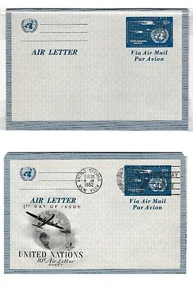 UNITED NATIONS Postal History - New York 1952 1st Day Air letter and mint copy