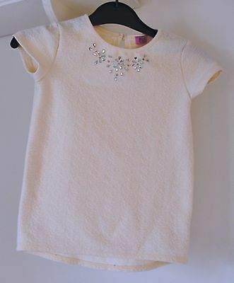 A F&f Girls Summer Cream With Diamante Trim Top Age 8 To 9 Years