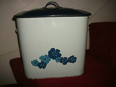 VINTAGE TALA ENAMEL BREAD BIN BLUE & AND WHITE, floral transfer