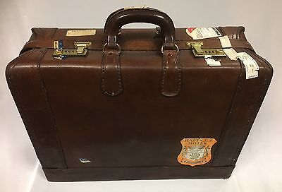 Vintage Presto Brown Leather Suitcase/Luggage Case