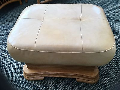 Klaussner Real Leather Pouffe Footstool