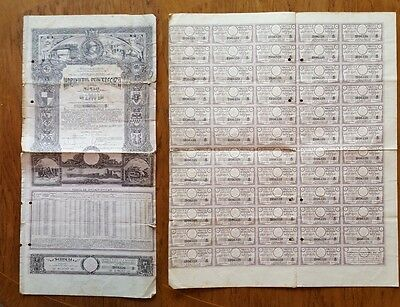 2.500 Lei Bond issued in 1941 by Romanian Finance Ministry with cupons