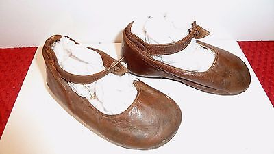 Collectable Antique Baby Shoes - Tan Leather Clog Type Leather Sole 1900's Doll?
