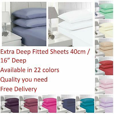 Non Iron Extra Deep Fitted Bed Sheets 40CM Single, Double, King, Super King Size