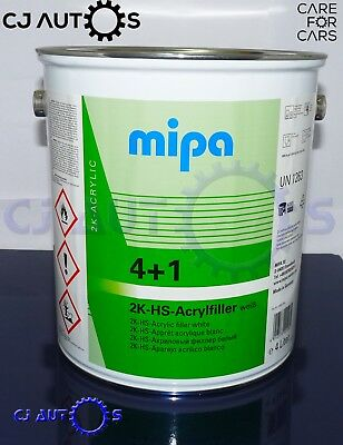 MIPA 4+1 2K HS Acryl Filler White High Quality Build Primer 4Litre Car Van Paint