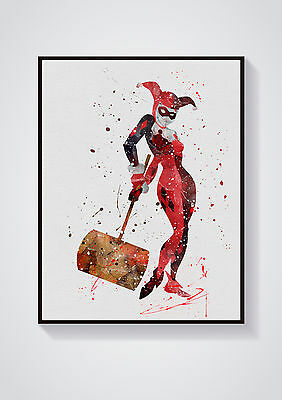 Harley Quinn Watercolour Wall Prints - Sizes  10x8, A4, A3 Lots of Styes