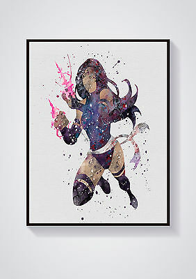 Psylocke Watercolour Wall Prints - Sizes  10x8, A4, A3 Lots of Styes
