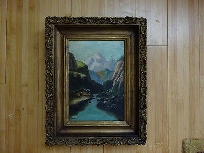 Quality Antique Signed Landscape Oil on Wood Canvas framed VINTAGE artwork old