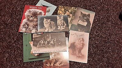 9 postcards of cats
