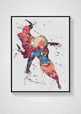 Supergirl  Marvel Watercolour Wall Prints - Sizes  10x8, A4, A3 Lots of Styes
