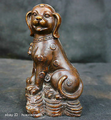 Chinese Fengshui Old Antique Copper Brass Statue Lucky Money Dog Sculpture