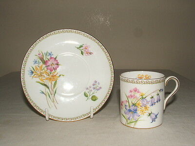 Shelley Art Deco Mocha Shaped Wild Flowers Coffee Cup & Saucer  Truly Stunning