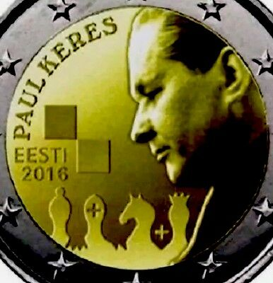Estonia 2 Euro Commemorative Coin Paul Keres 2016 Chess New From Roll