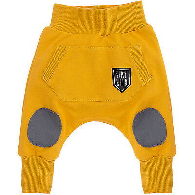 Boy Baby Toddler Harem Trousers Elasticated Pockets 100% Cotton Grey Mustard
