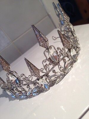 7cms High Antique silver Tiara . Crystal And Rhinestone Encrusted. Ice Maiden