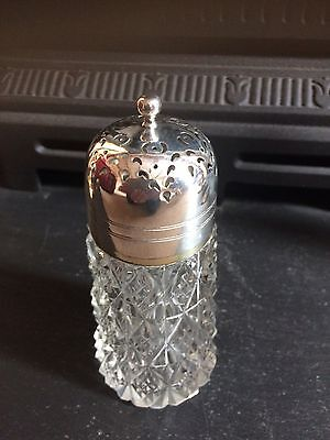 Cut Glass Crystal Sugar Sifter With Silver Plated Top